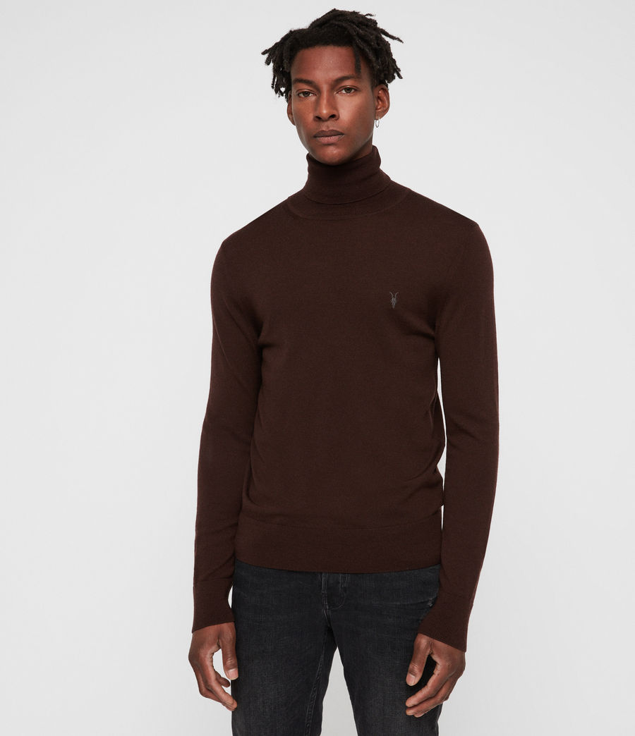 Mens Mode Merino Roll Neck Sweater (oxblood_red) - Image 1