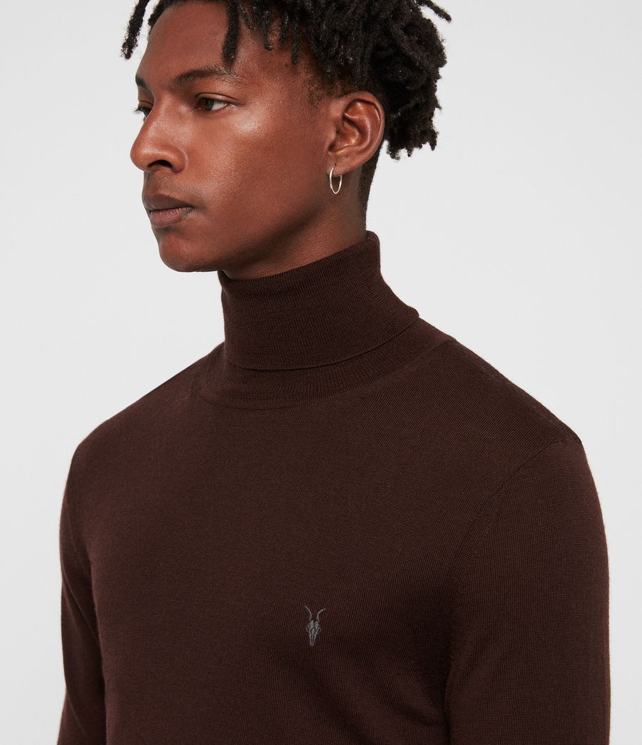 Mens Mode Merino Roll Neck Sweater (oxblood_red) - Image 2