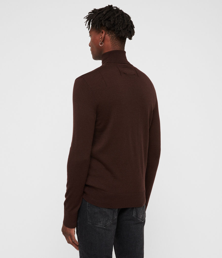 Mens Mode Merino Roll Neck Sweater (oxblood_red) - Image 4