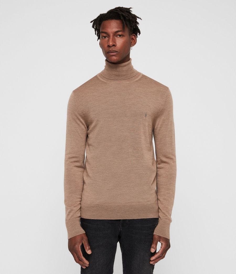 Hombres Mode Merino Roll Neck Jumper (almond_brown_marl) - Image 1