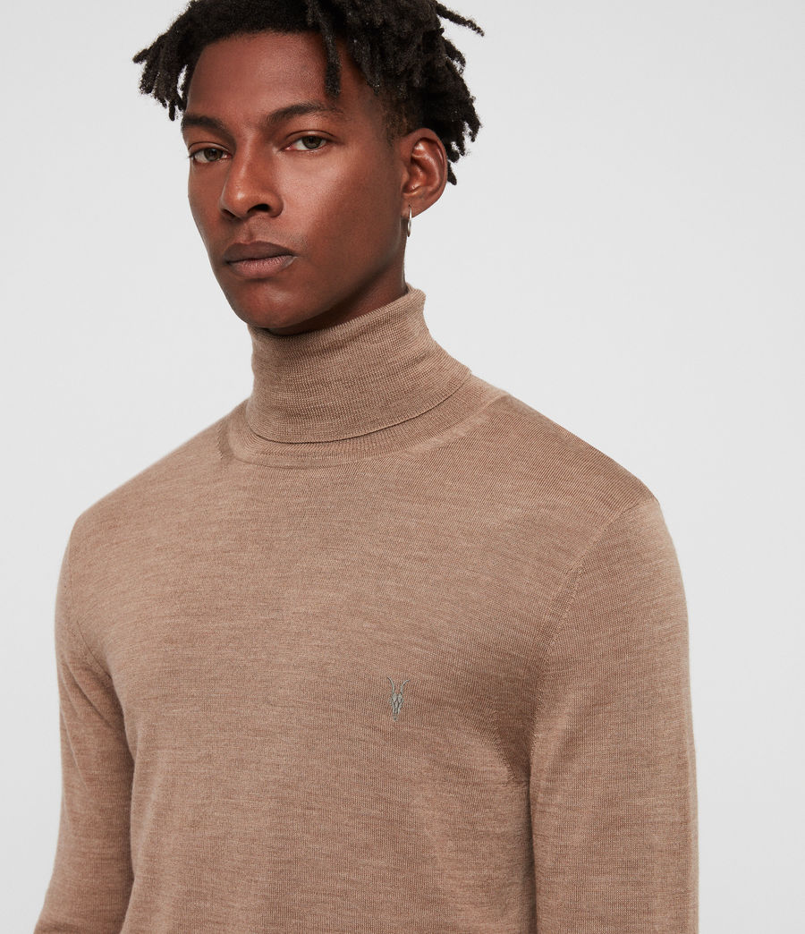 Hombres Mode Merino Roll Neck Jumper (almond_brown_marl) - Image 2
