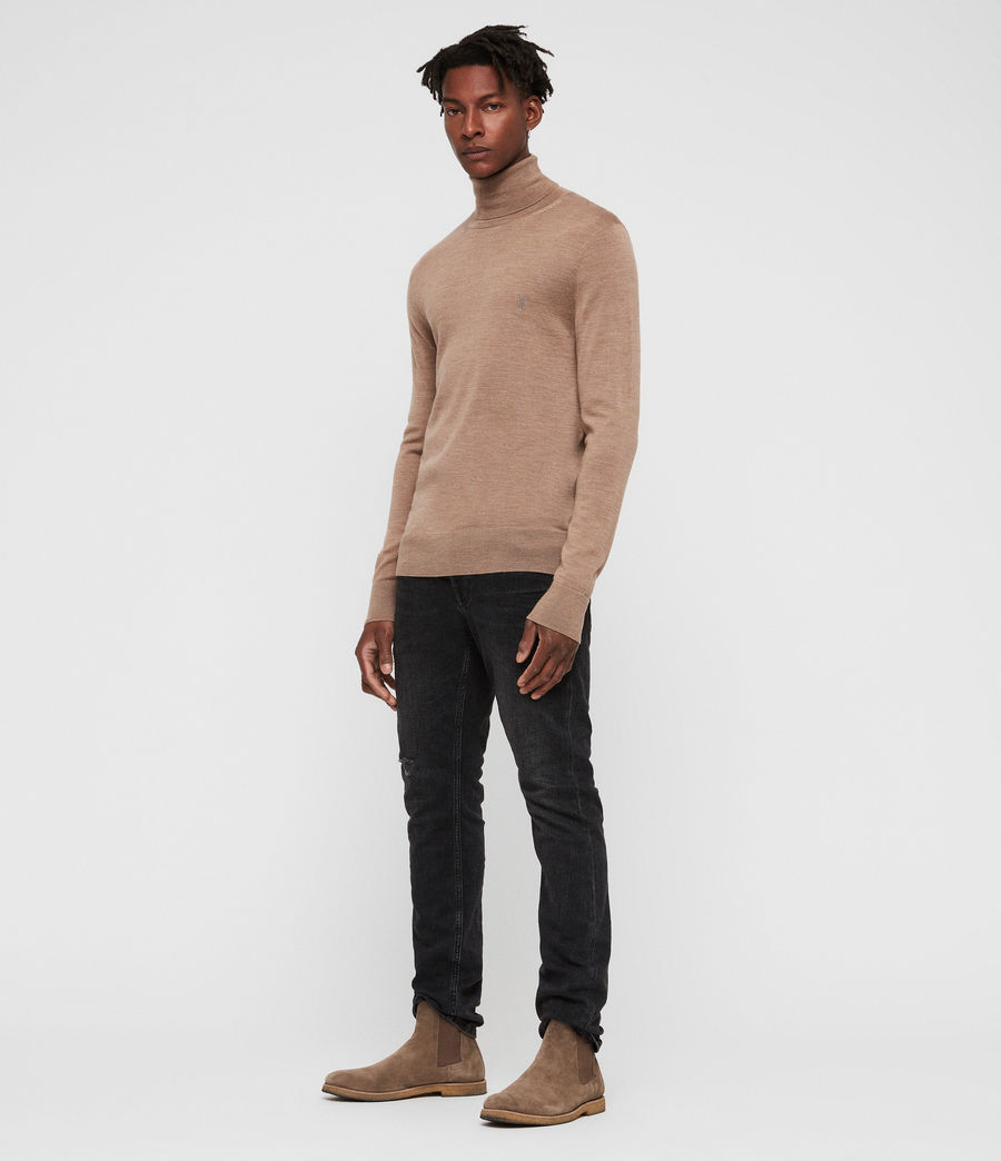 Hombres Mode Merino Roll Neck Jumper (almond_brown_marl) - Image 3