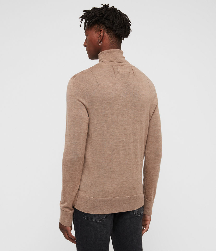 Hombres Mode Merino Roll Neck Jumper (almond_brown_marl) - Image 4