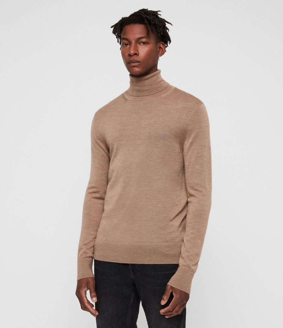 Hombres Mode Merino Roll Neck Jumper (almond_brown_marl) - Image 5