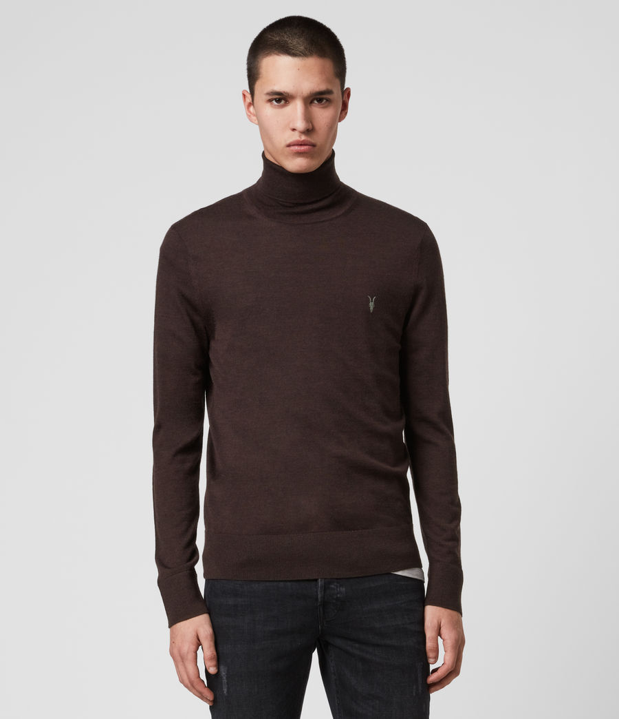 Men's Mode Merino Roll Neck Jumper (shale_taupe_marl) - Image 1