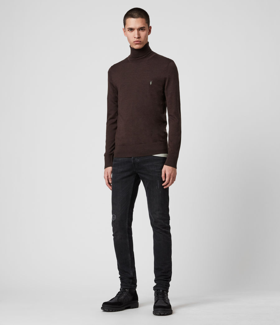 Men's Mode Merino Roll Neck Jumper (shale_taupe_marl) - Image 3