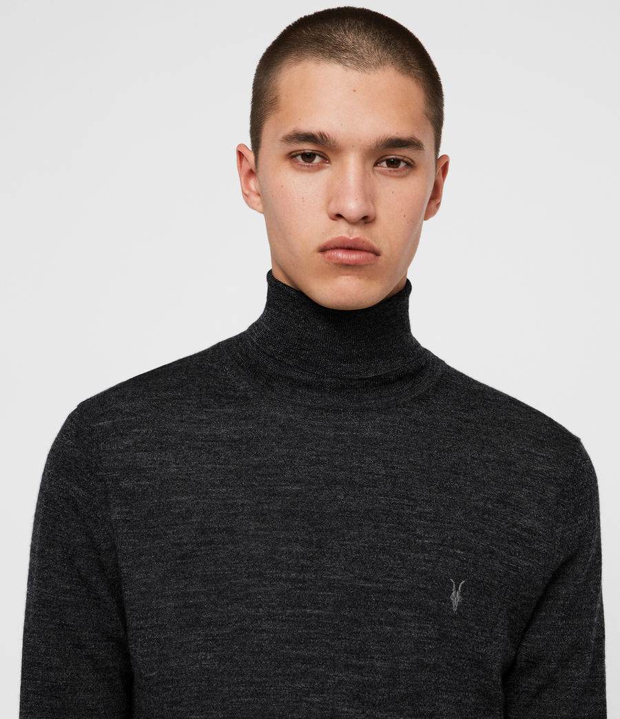 Men's Mode Merino Roll Neck Jumper (shale_taupe_marl) - Image 2