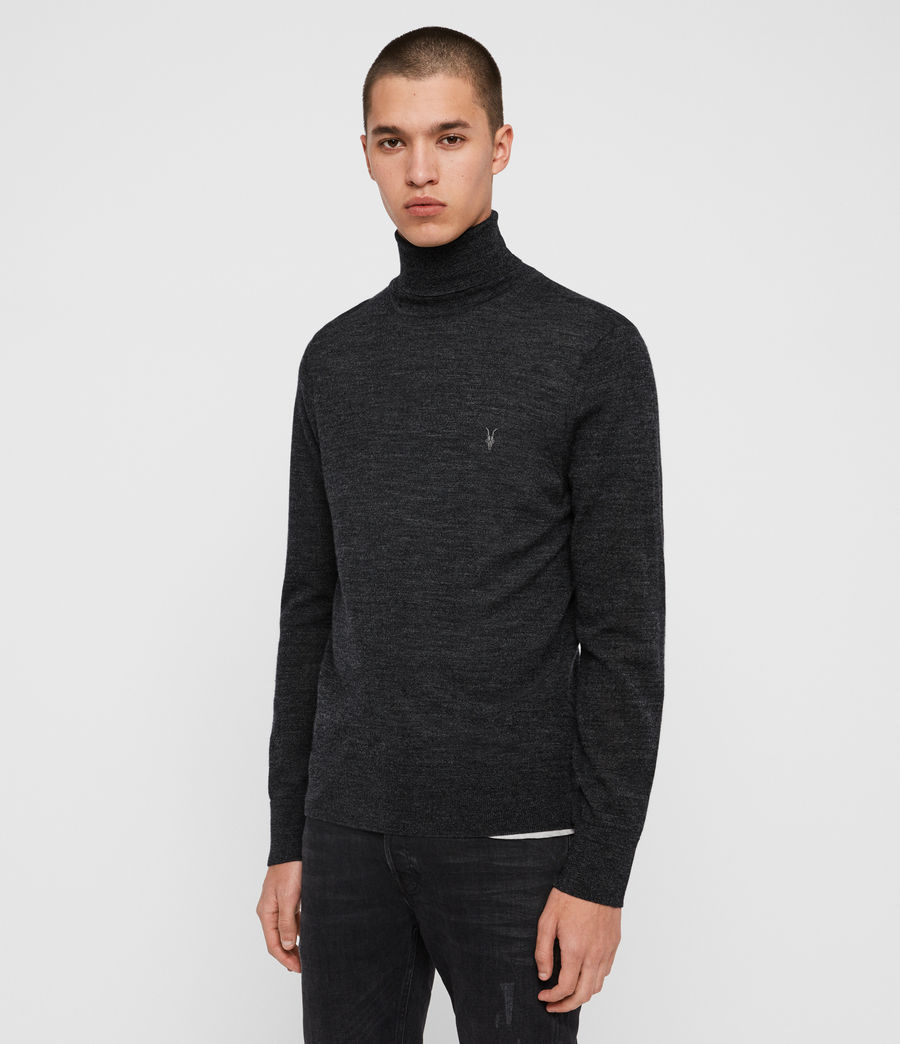 Men's Mode Merino Roll Neck Jumper (shale_taupe_marl) - Image 4