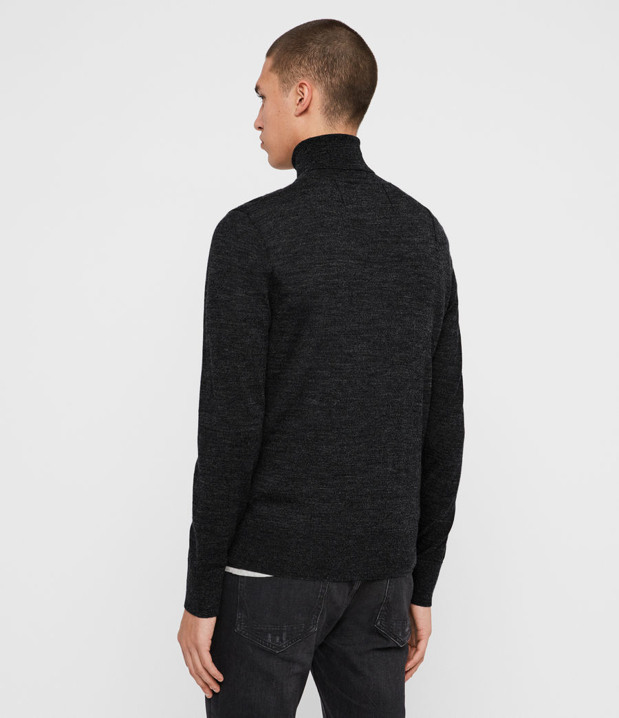 Men's Mode Merino Roll Neck Jumper (shale_taupe_marl) - Image 5