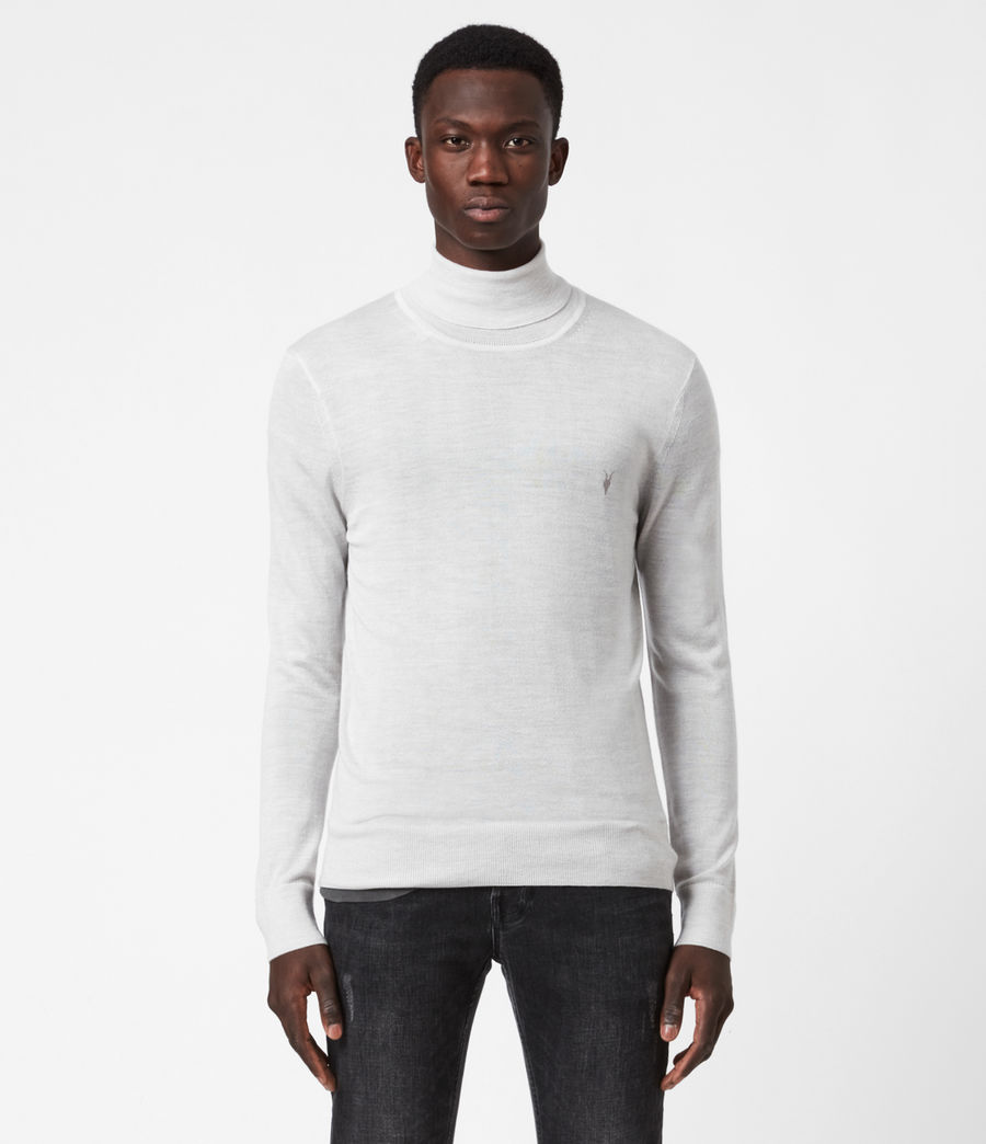 Men's Mode Merino Roll Neck Jumper (fog_grey_marl) - Image 1