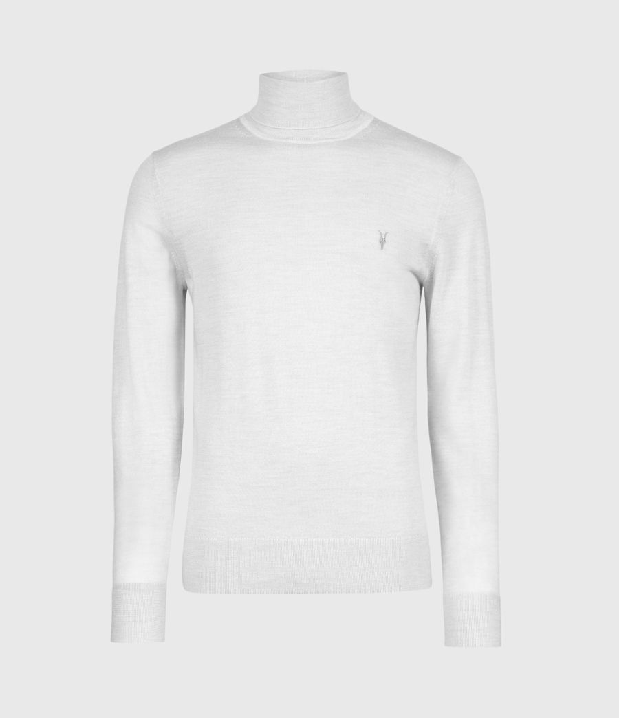 Men's Mode Merino Roll Neck Jumper (fog_grey_marl) - Image 2