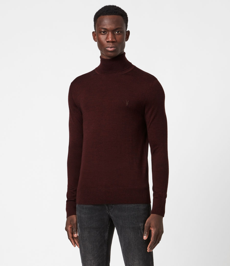 Mens Mode Merino Roll Neck Sweater (garnet_red_mouline) - Image 1
