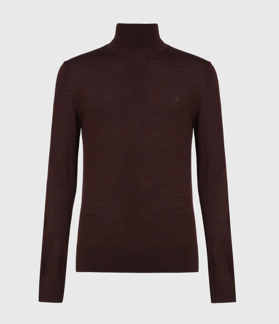 Mens Mode Merino Roll Neck Sweater (garnet_red_mouline) - Image 2