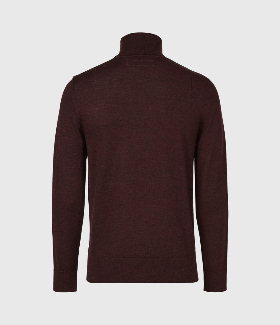 Mens Mode Merino Roll Neck Sweater (garnet_red_mouline) - Image 3