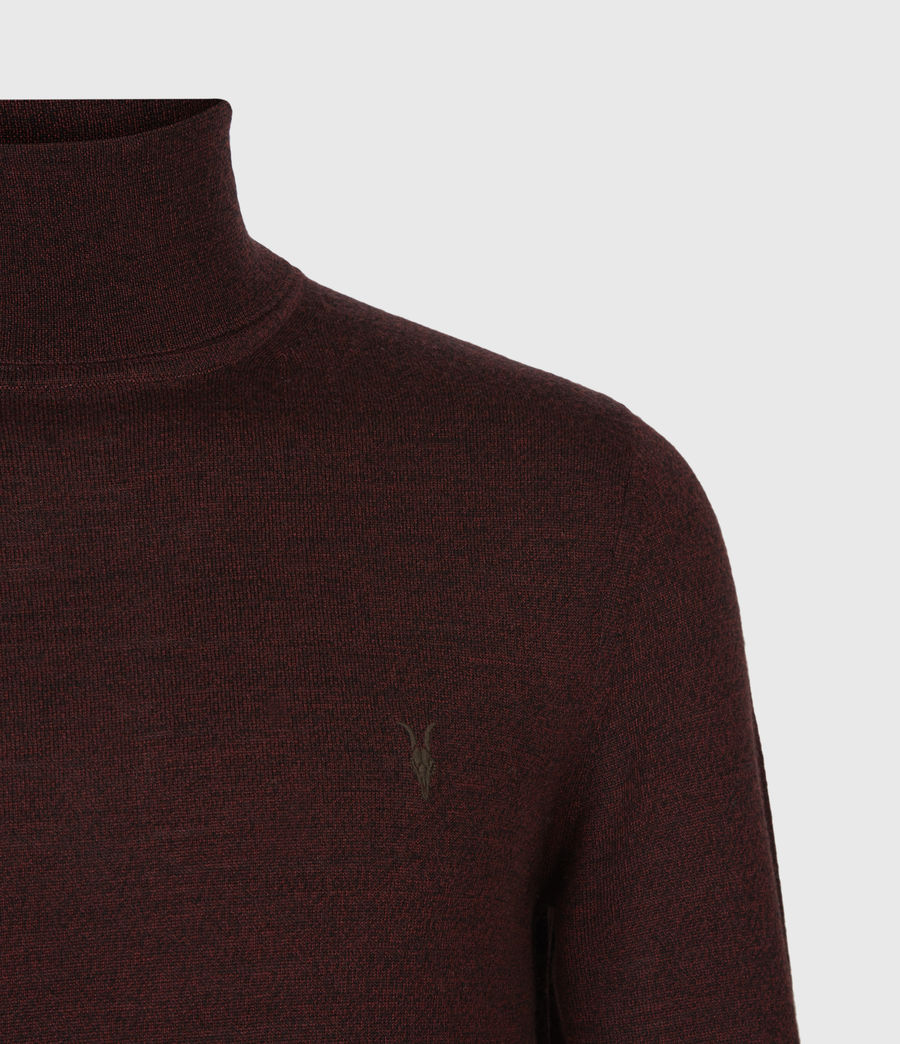 Mens Mode Merino Roll Neck Sweater (garnet_red_mouline) - Image 4
