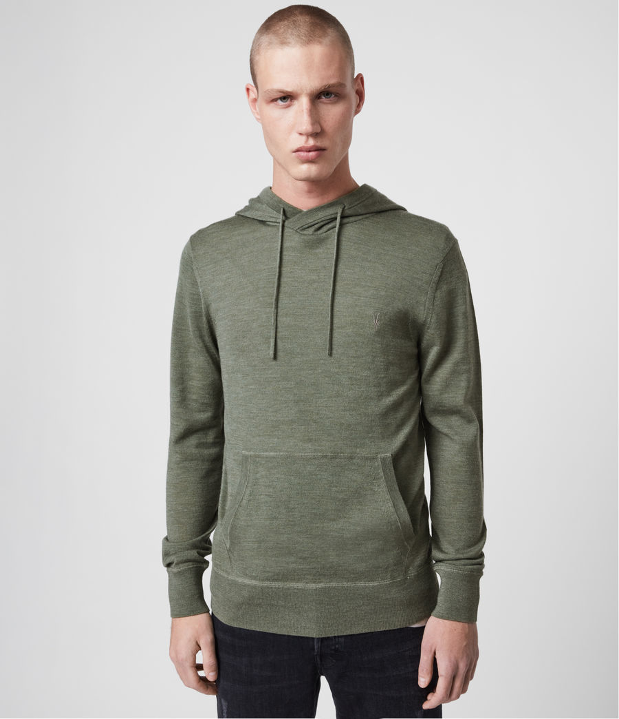 Hombres Mode Merino Hoodie (olive_green_marl) - Image 1