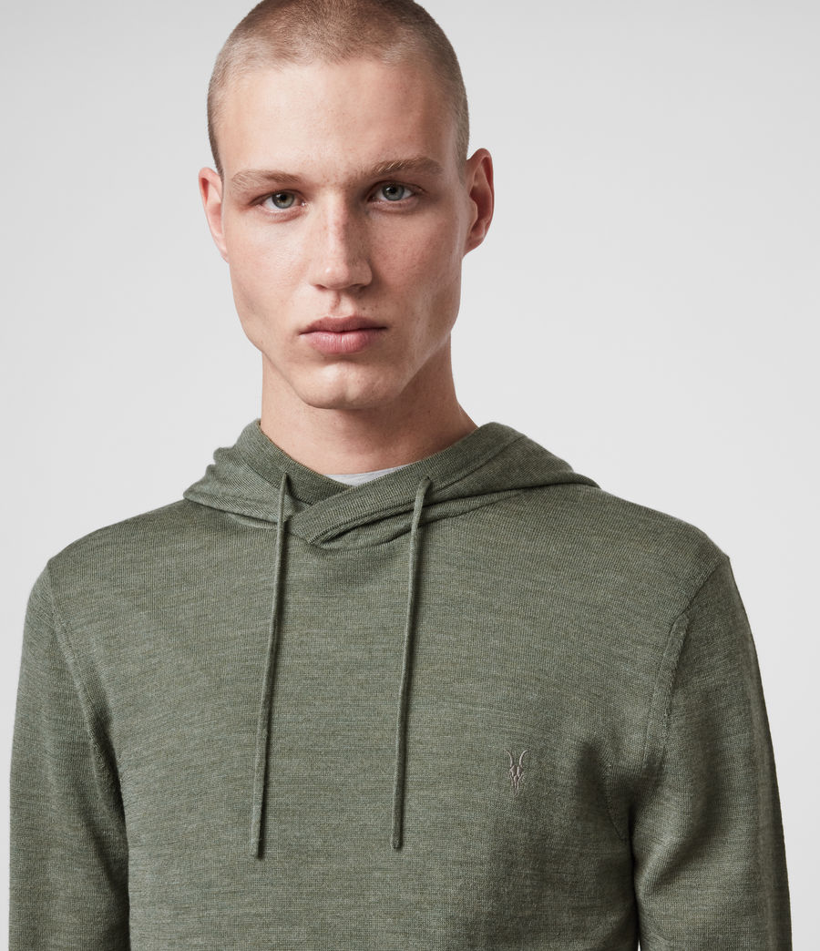 Hombres Mode Merino Hoodie (olive_green_marl) - Image 2