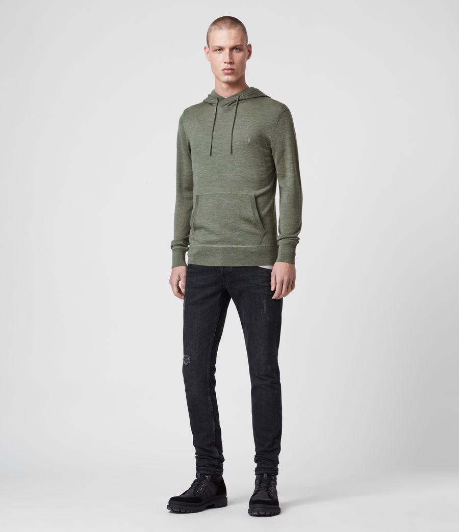 Hombres Mode Merino Hoodie (olive_green_marl) - Image 3
