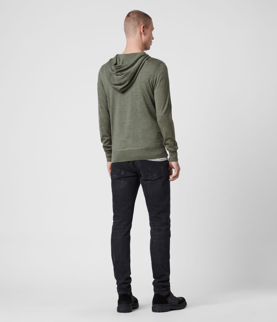 Hombres Mode Merino Hoodie (olive_green_marl) - Image 4
