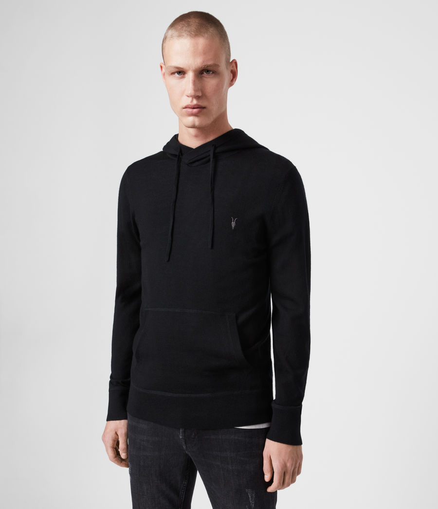 Men's Mode Merino Pullover Hoodie (black) - Image 1