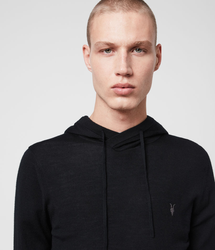 Men's Mode Merino Pullover Hoodie (black) - Image 2