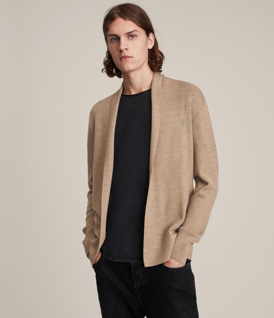 Men's Mode Merino Open Cardigan (smoked_brown_marl) - Image 1