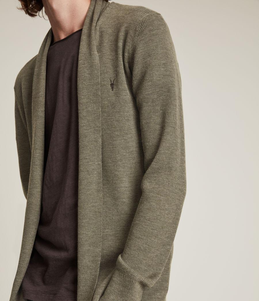 Herren Mode Merino Open Cardigan (nettle_green_marl) - Image 3