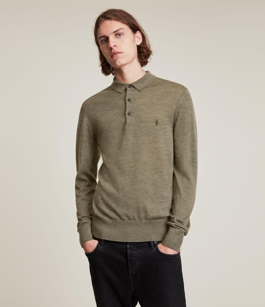Herren Mode Merino Long Sleeve Polo Shirt (nettle_green_marl) - Image 1