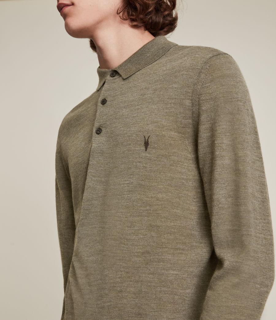 Herren Mode Merino Long Sleeve Polo Shirt (nettle_green_marl) - Image 2