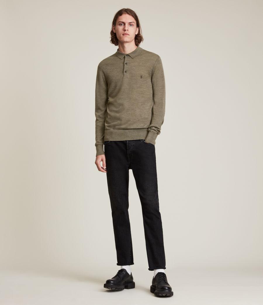 Herren Mode Merino Long Sleeve Polo Shirt (nettle_green_marl) - Image 3