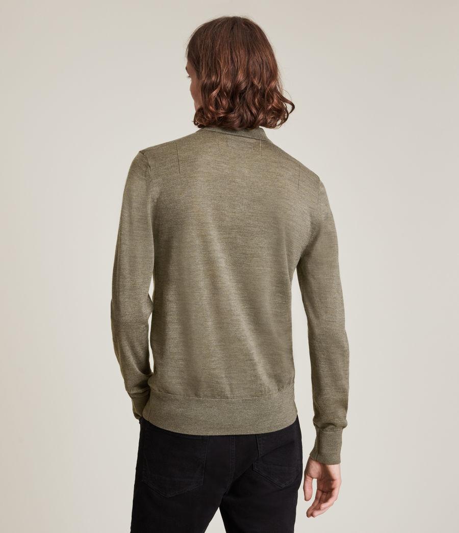 Herren Mode Merino Long Sleeve Polo Shirt (nettle_green_marl) - Image 4