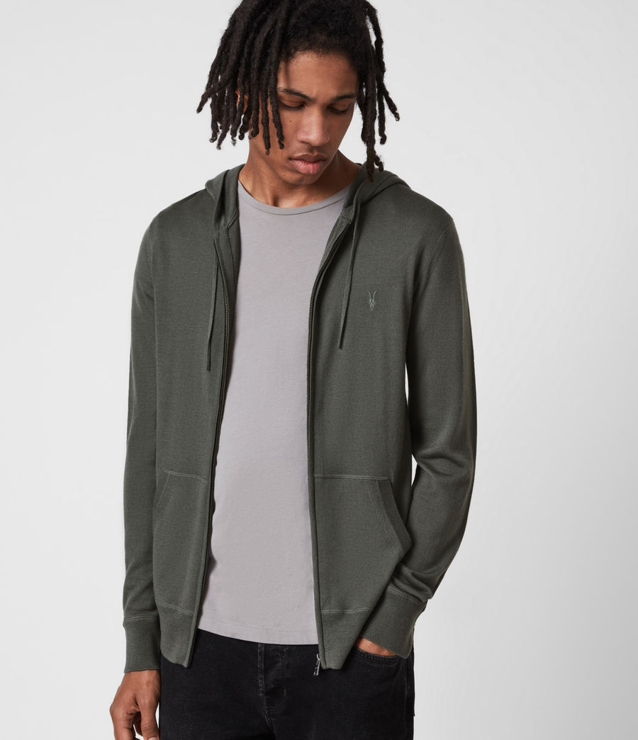 Herren Mode Merino Zip Hood (sacremento_green) - Image 1