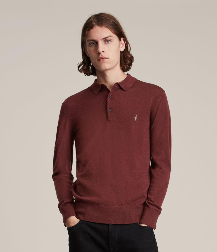 Herren Mode Merino Long Sleeve Polo Shirt (damson_red) - Image 1