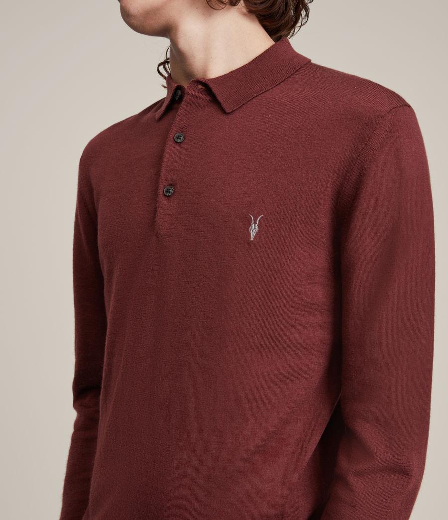 Herren Mode Merino Long Sleeve Polo Shirt (damson_red) - Image 2