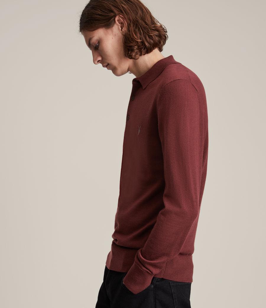 Herren Mode Merino Long Sleeve Polo Shirt (damson_red) - Image 3