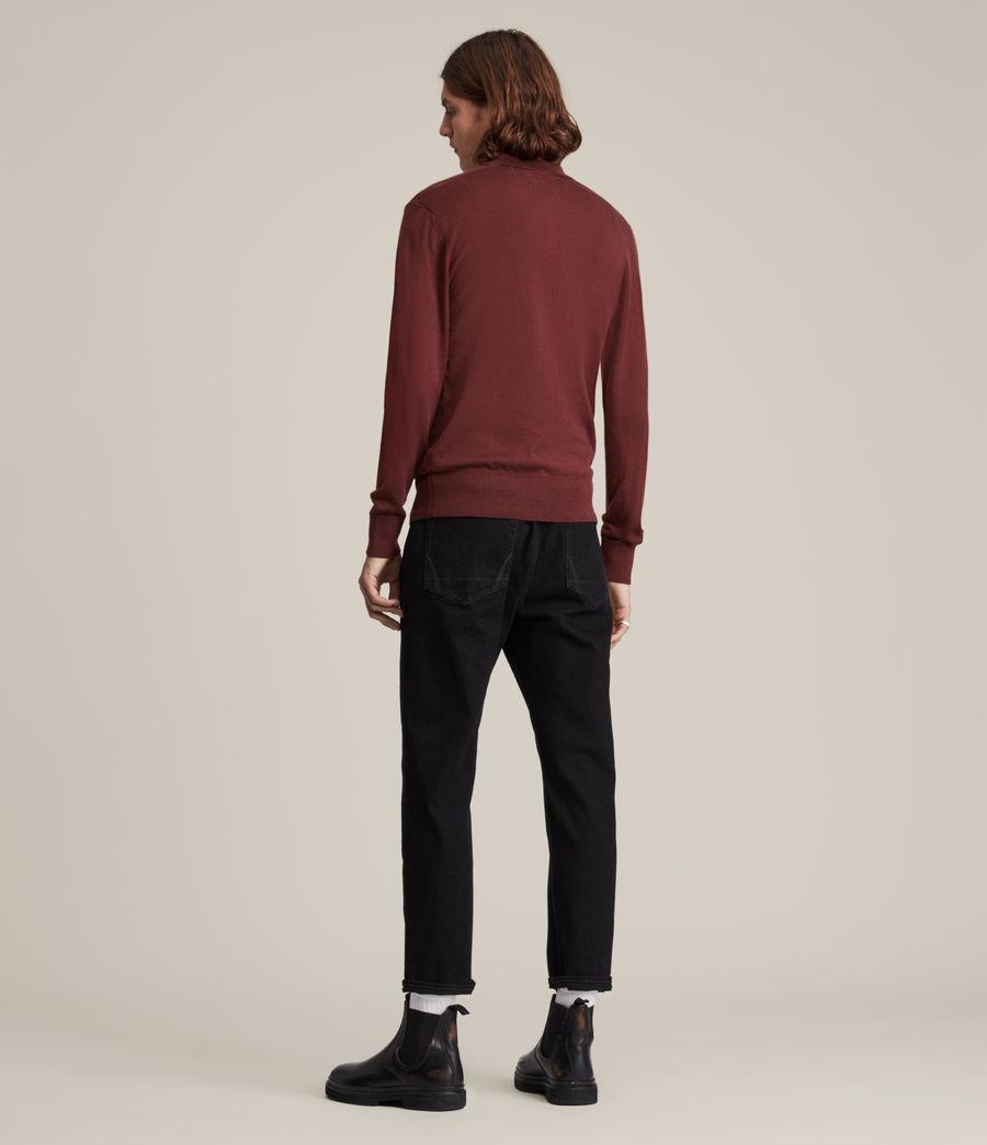 Herren Mode Merino Long Sleeve Polo Shirt (damson_red) - Image 4
