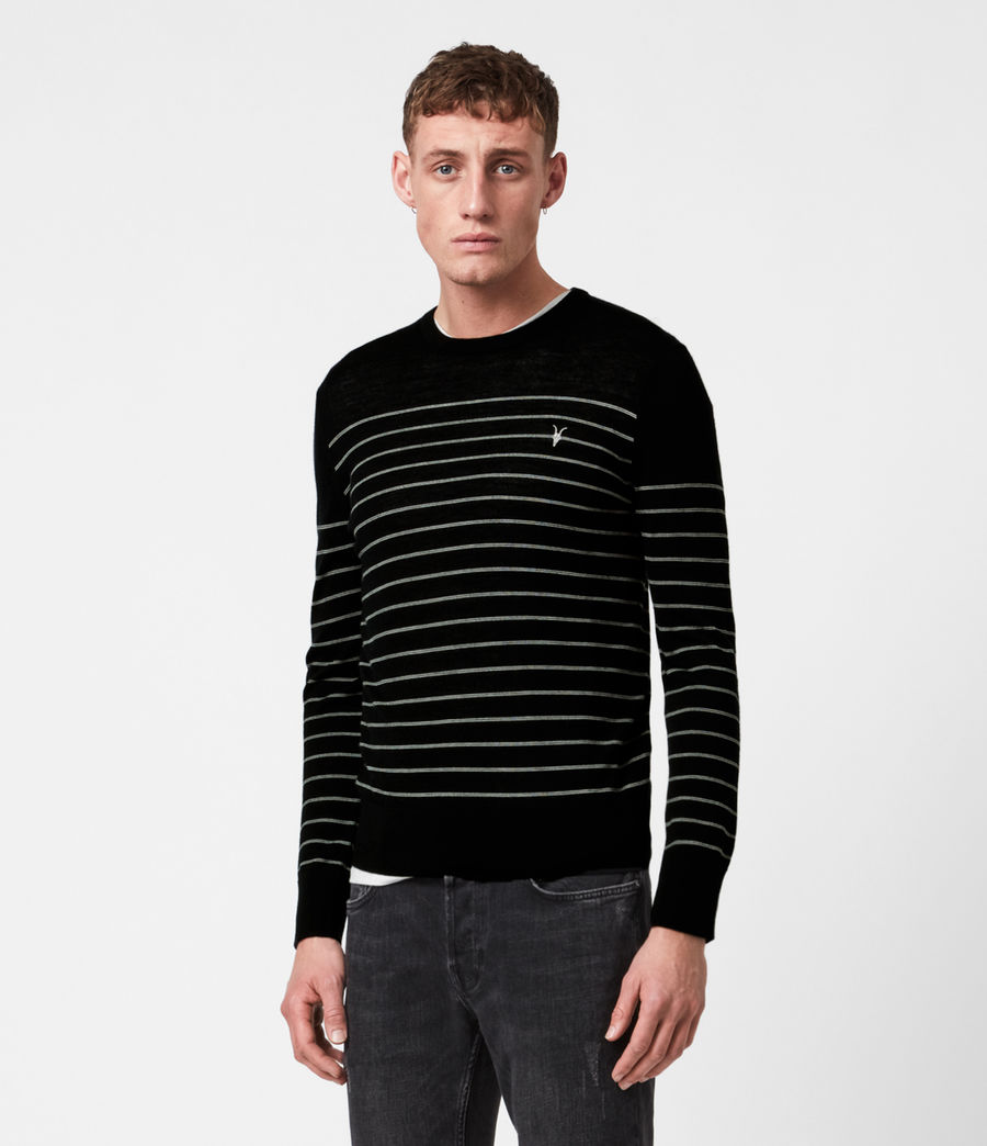 Men's Mode Merino Stripe Crew Jumper (black) - Image 1