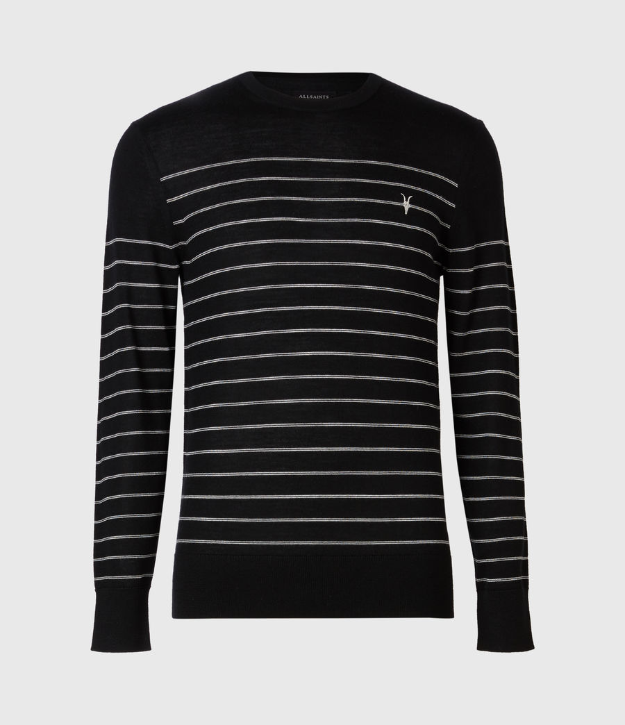 Men's Mode Merino Stripe Crew Jumper (black) - Image 4