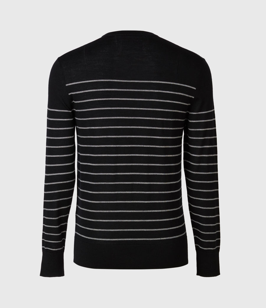 Men's Mode Merino Stripe Crew Jumper (black) - Image 5