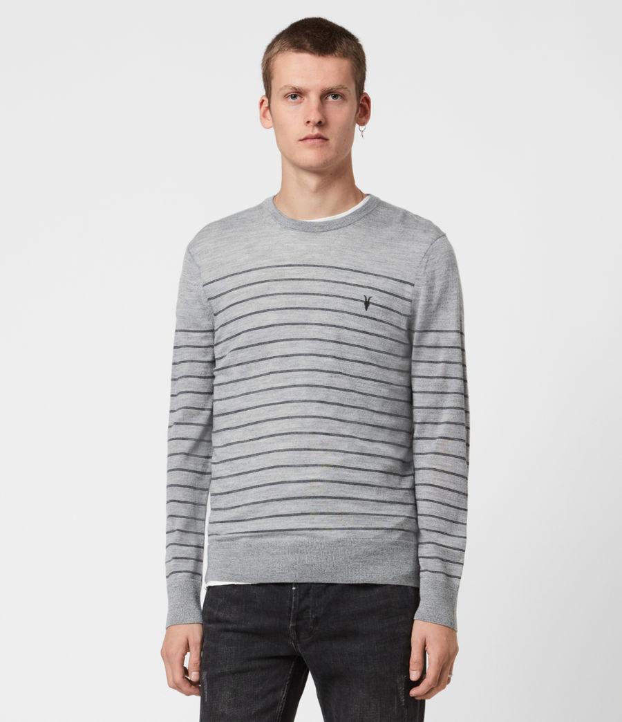 Men's Mode Merino Stripe Jumper (fog_grey_mouline) - Image 1