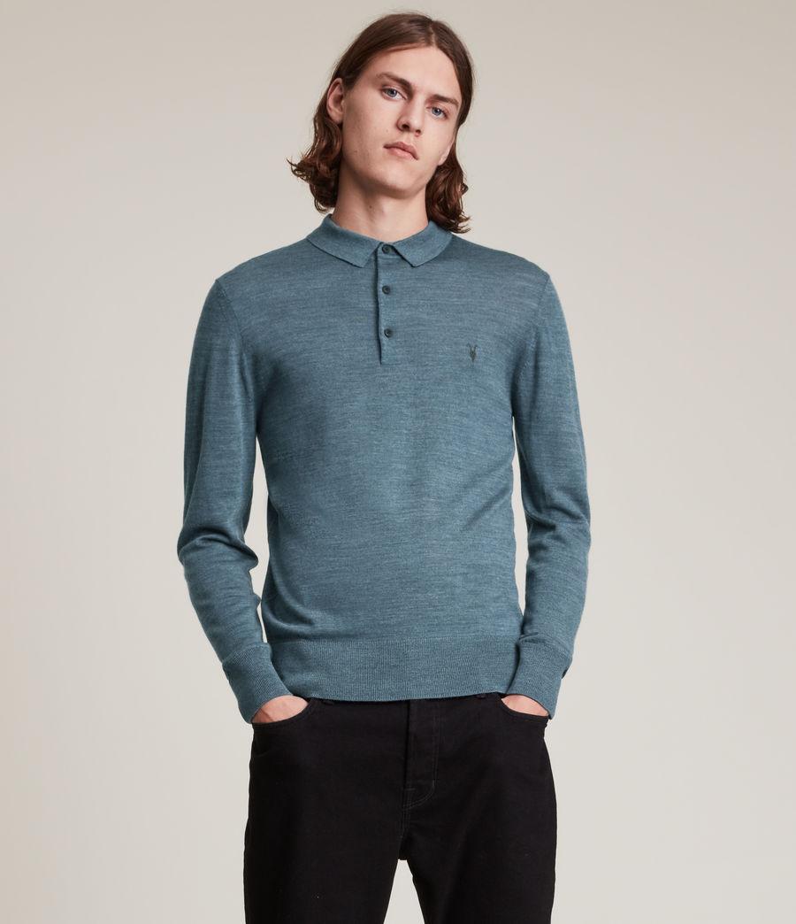 Herren Mode Merino Long Sleeve Polo Shirt (adventurer_blue_ml) - Image 1