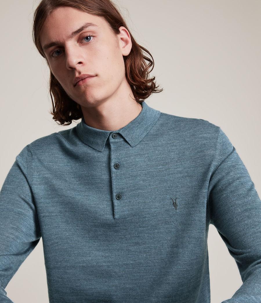 Herren Mode Merino Long Sleeve Polo Shirt (adventurer_blue_ml) - Image 2