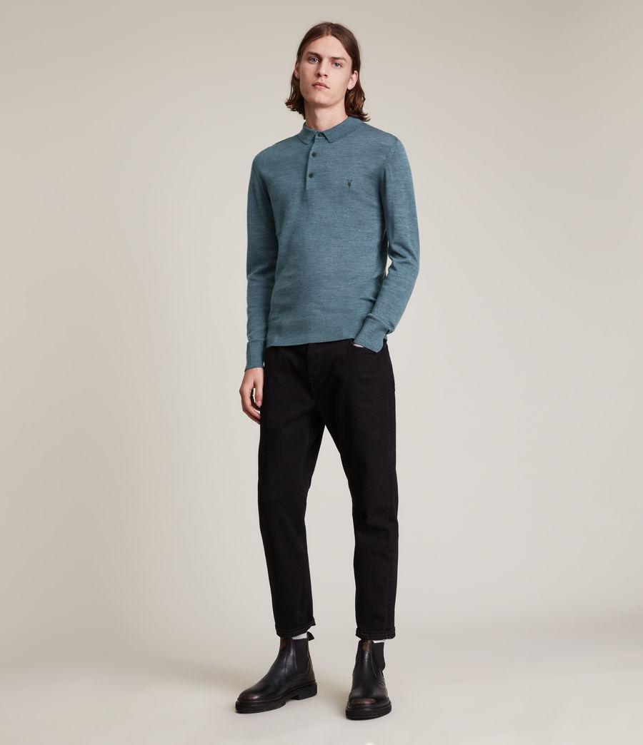 Herren Mode Merino Long Sleeve Polo Shirt (adventurer_blue_ml) - Image 3