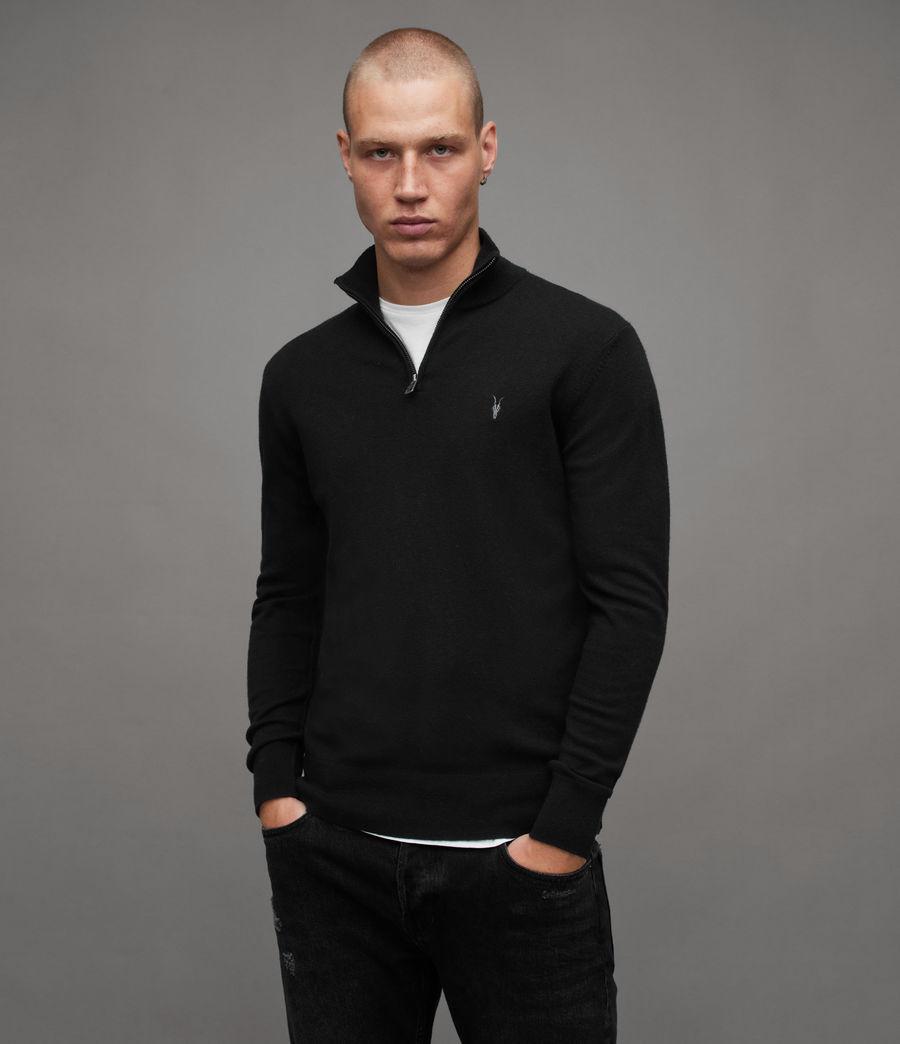 Mens Kilburn Zip Funnel Sweater (black) - Image 1