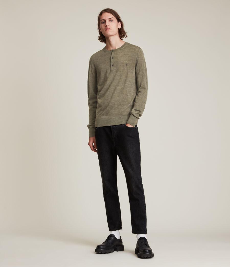 Herren Mode Merino Long Sleeve Henley (nettle_green_marl) - Image 3