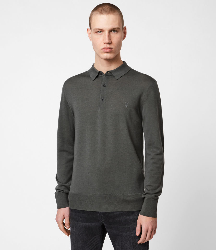Herren Mode Merino Polohemd (sacremento_green) - Image 1