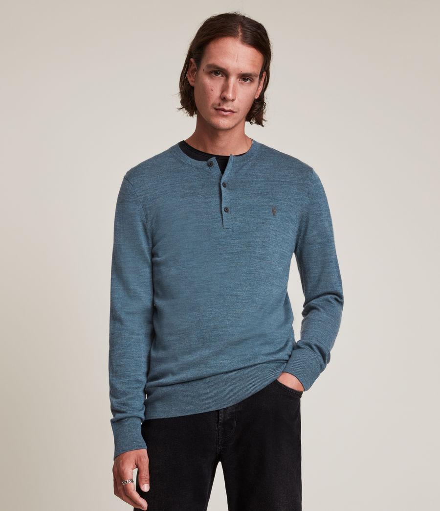 Hommes Mode Merino Long Sleeve Henley (adventurer_blue_ml) - Image 1