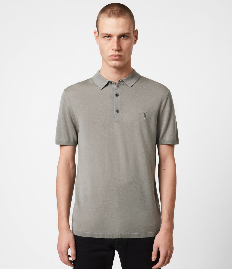 Hommes Mode Merino Short Sleeve Polo Shirt (calke_green) - Image 1