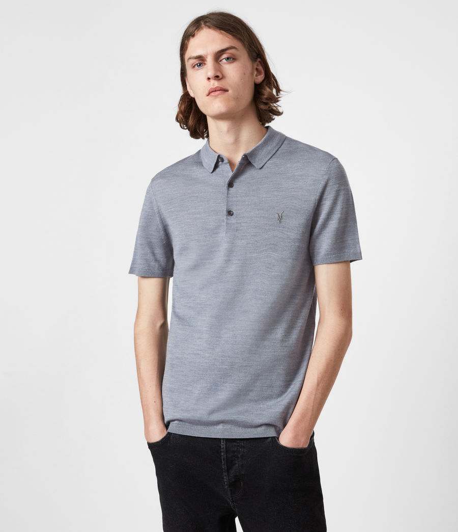 Herren Mode Merino Short Sleeve Polo Shirt (twilight_blue_marl) - Image 1
