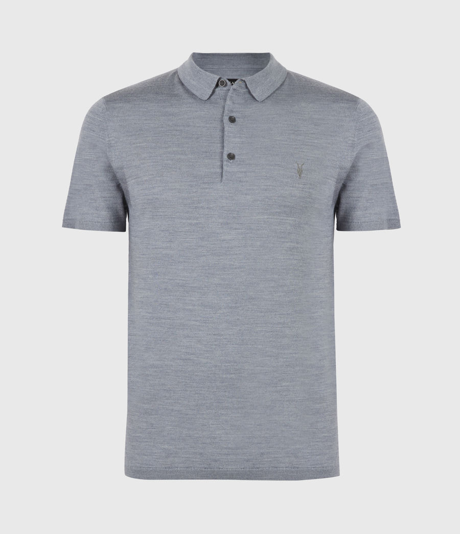 Herren Mode Merino Short Sleeve Polo Shirt (twilight_blue_marl) - Image 2